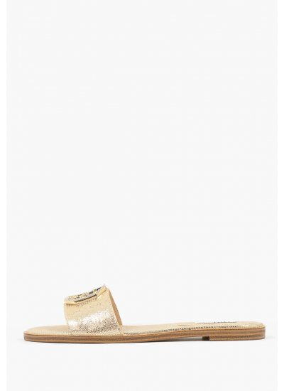 Women Flat Sandals Botalia Gold Leather Guess
