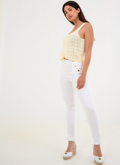 Exposed.Buttons White Cotton Guess