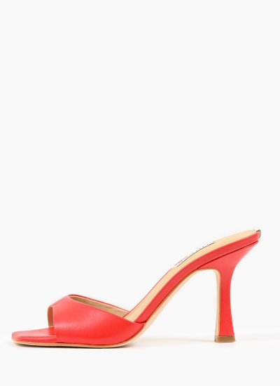 Women Mules Seala Red Leather Guess