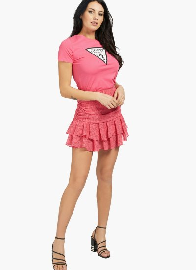 Women T-Shirts - Tops Triangle.W Pink Cotton Guess