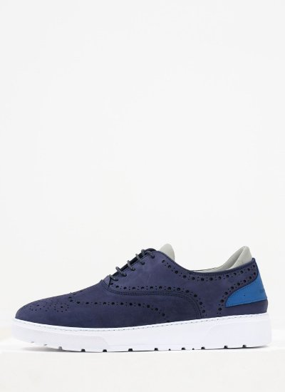 Men Casual Shoes 211040 Blue Nubuck Leather Harmont & Blaine