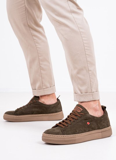 Men Casual Shoes 2372 Olive Nubuck Leather Robinson