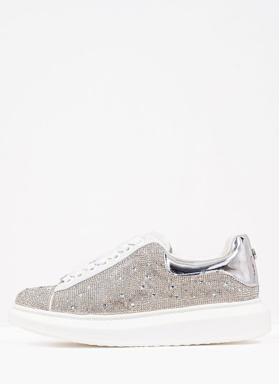 Women Casual Shoes Glimmer Silver Strass Steve Madden