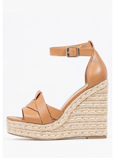 Women Platforms High Sivian Beige Leather Steve Madden