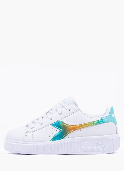 Kids Casual Shoes Rainbow.Ps White Eco-Leather Diadora