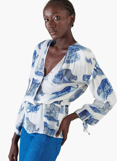 Women T-Shirts - Tops Wildprint White Silvian Heach