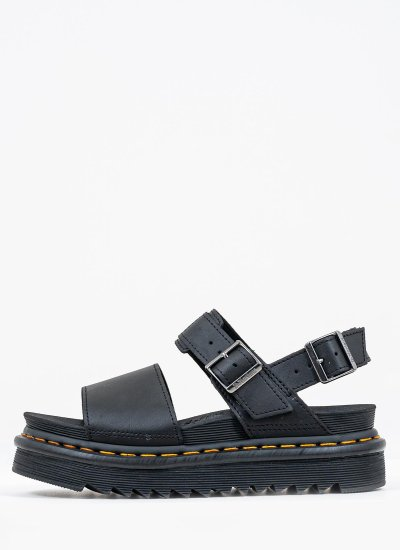 Women Platforms Low Voss Black Leather Dr. Martens