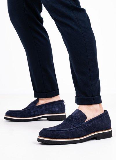 Men Moccasins 43403 Blue Suede Leather Vice