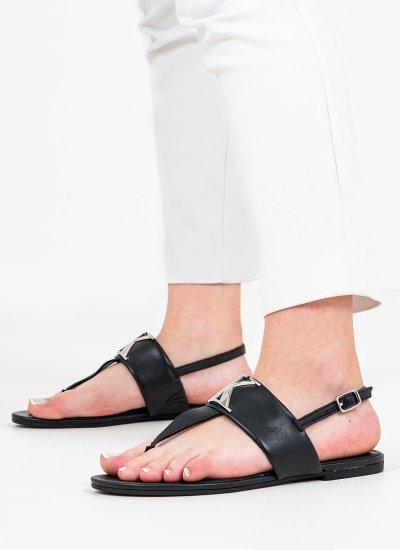 Women Flat Sandals Flat.Sandal Black Leather Calvin Klein