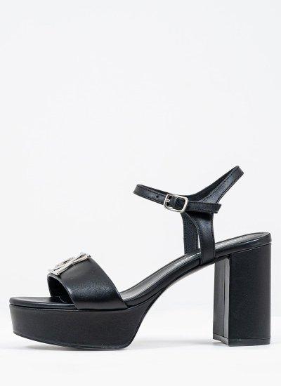 Women Sandal High Heel.Sandal Black Leather Calvin Klein