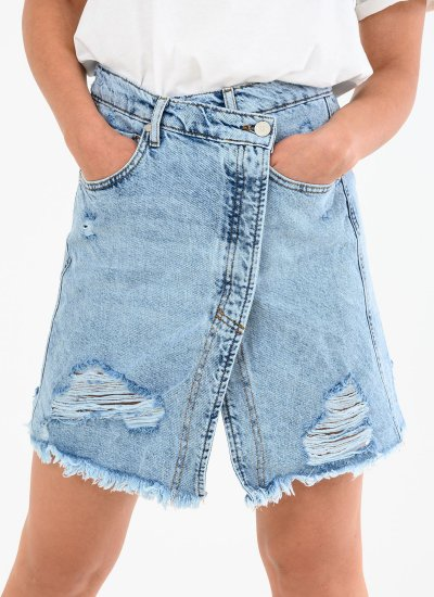 Women Skirts - Shorts Crossed.Destroyed Blue Cotton Kendall+Kylie