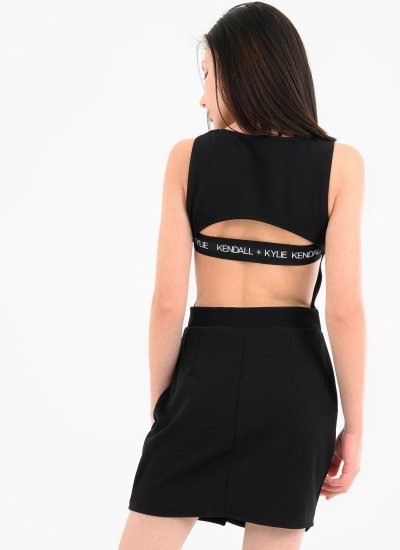 Drapped.Mini Black Polyester Kendall+Kylie