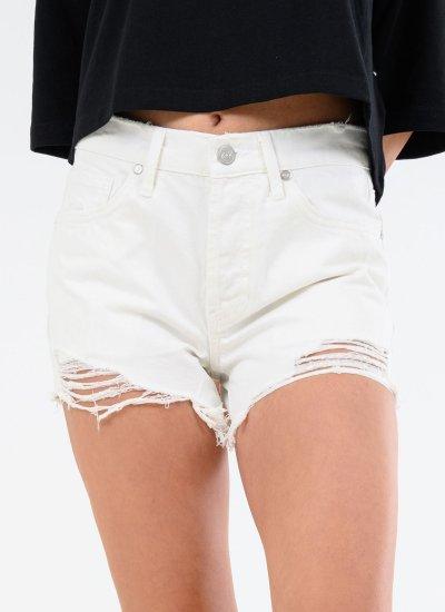 Women Skirts - Shorts Mini.Shorts White Cotton Kendall+Kylie