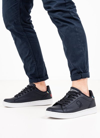 Men Casual Shoes Penn.Ltx Black Eco-Leather Benetton